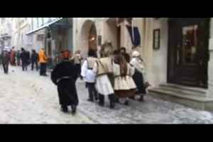 Carollers in Lviv performing and collect money from people.