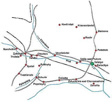 map of sniatyn district circa 1900