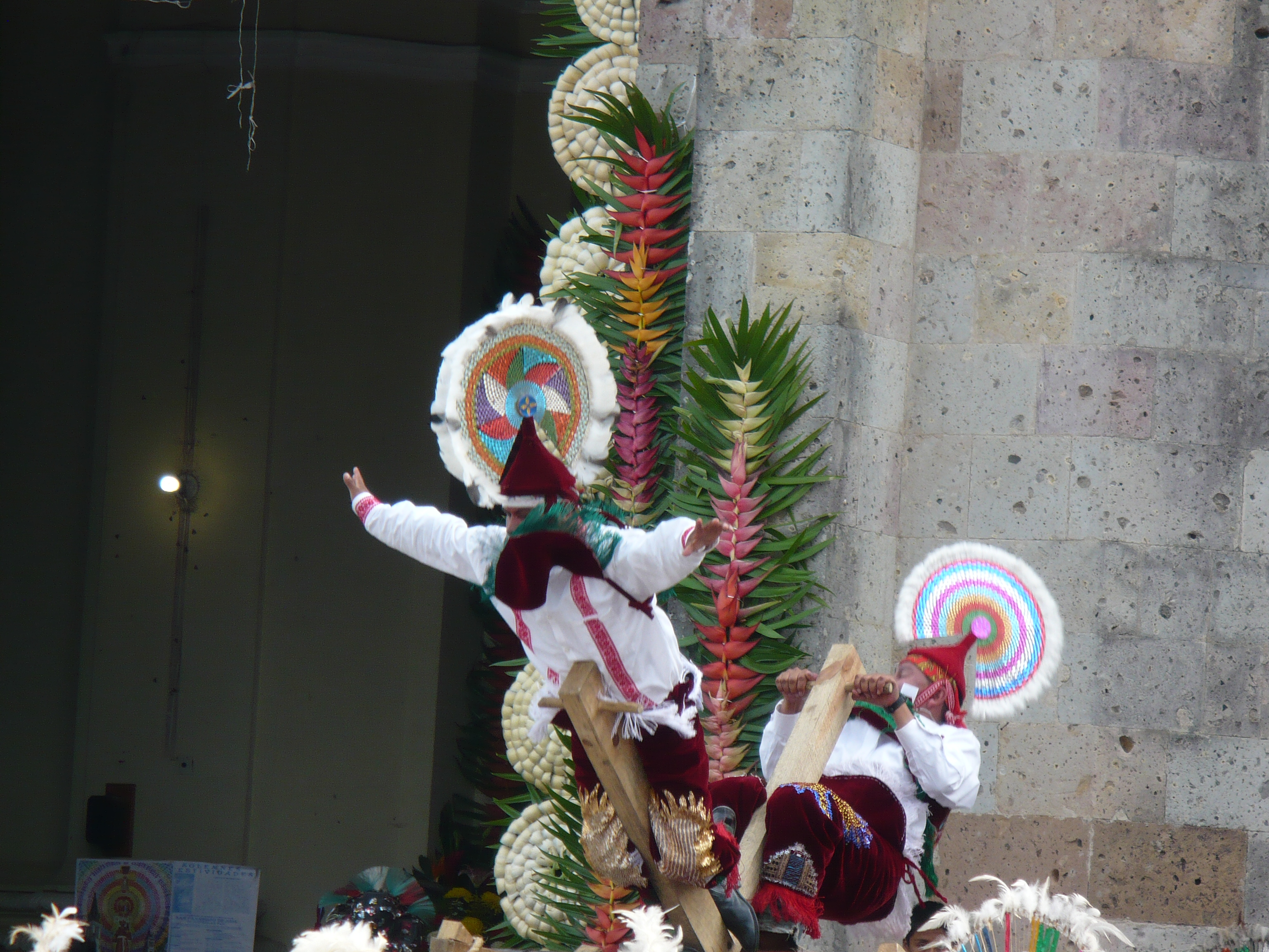 The Voladores also fly on a wheel in Cuetzalan.