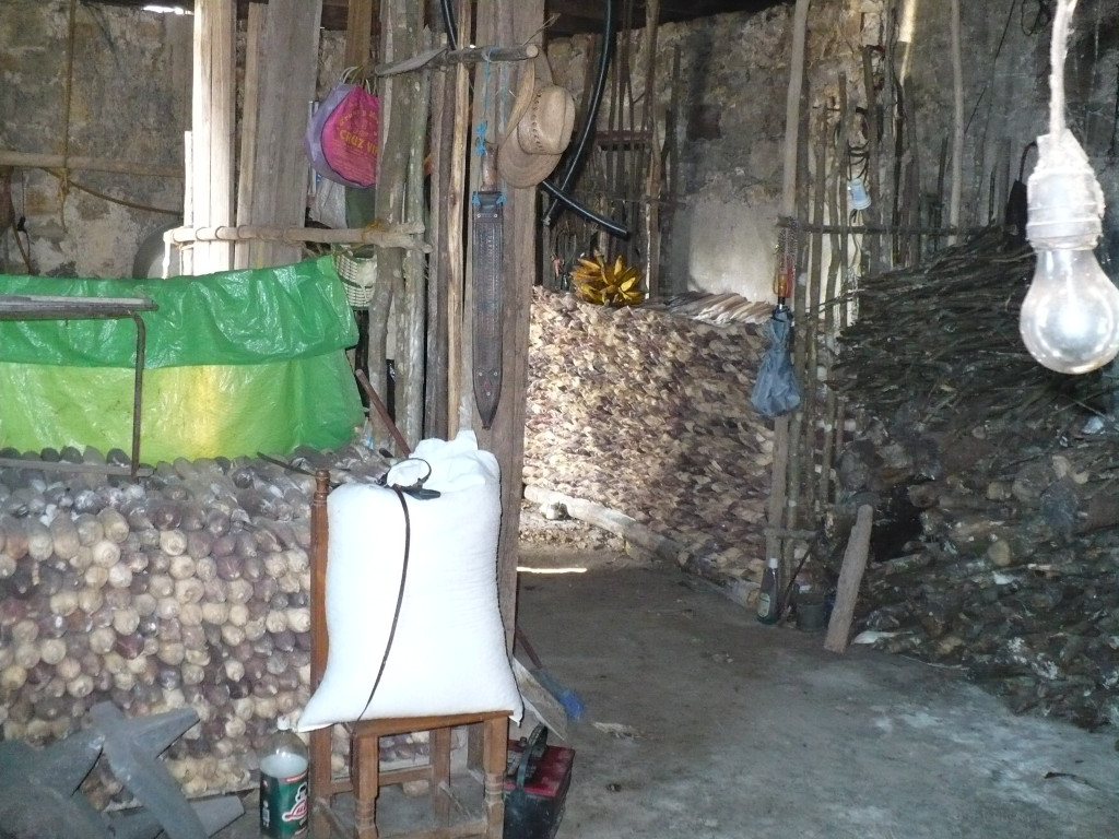 Storage area of home where corn and wood is dried and kept.